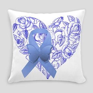 Blue awareness ribbon Everyday Pillow