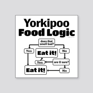 "Yorkiepoo Food Square Sticker 3"" x 3"""