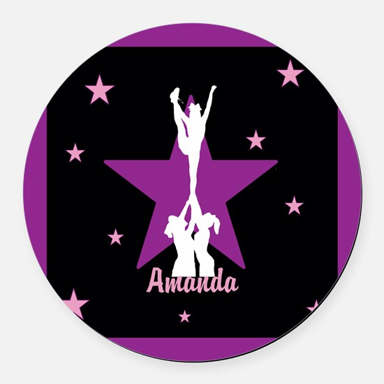 Cheerleader pink Round Car Magnet