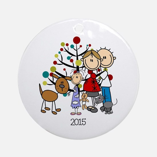 Christmas Family With Girl, Cat, Round Ornament