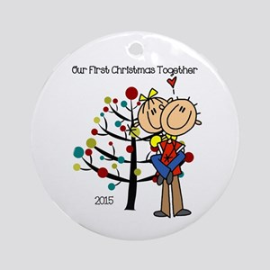 Stick Figure 1st Christmas Together Round Ornament