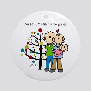 Christmas 2015 Family With Baby Round Ornament