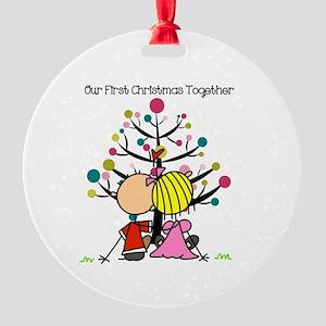 Stick Figure Couple 1st Christmas Round Ornament