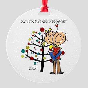 Stick Figures 1st Christmas Round Ornament
