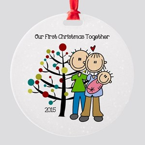 2015 First Christmas Together Baby Round Ornament