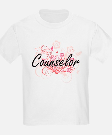 Counselor Artistic Job Design with Flowers T-Shirt