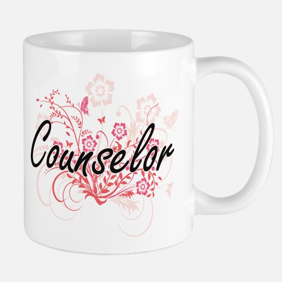 Counselor Artistic Job Design with Flowers Mugs