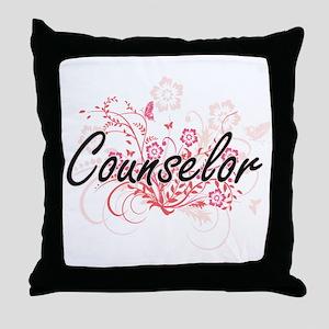 Counselor Artistic Job Design with Fl Throw Pillow
