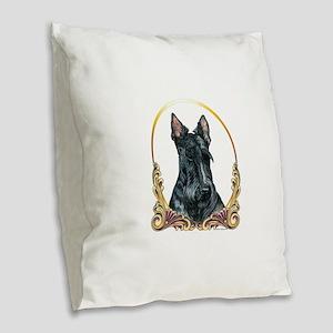 Scottish Terrier Holiday Burlap Throw Pillow