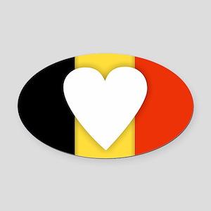 Belgium Design Oval Car Magnet