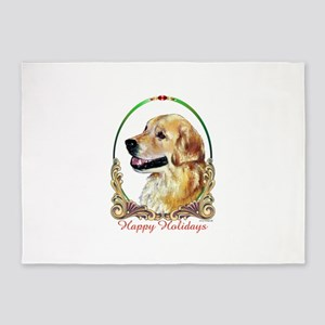 Golden Retriever Happy Holidays 5'x7'Area Rug
