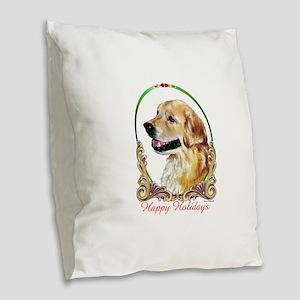 Golden Retriever Happy Holiday Burlap Throw Pillow