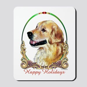 Golden Retriever Happy Holidays Mousepad
