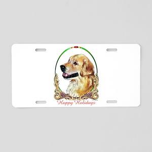 Golden Retriever Happy Holi Aluminum License Plate