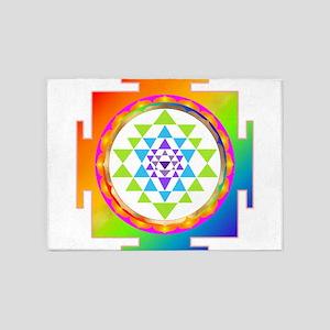 Sri Yantra Rainbow Chakra 5'x7'Area Rug