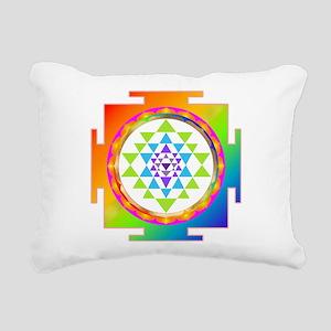 Sri Yantra Rainbow Chakr Rectangular Canvas Pillow