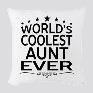 WORLD'S COOLEST AUNT EVER Woven Throw Pillow