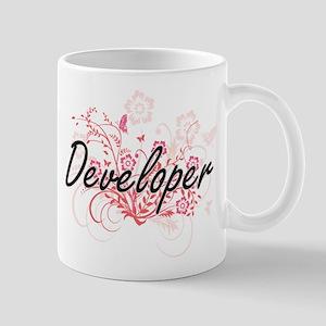 Developer Artistic Job Design with Flowers Mugs