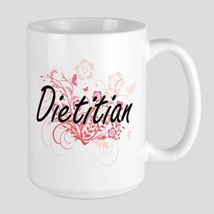 Dietitian Artistic Job Design with Flowers Mugs