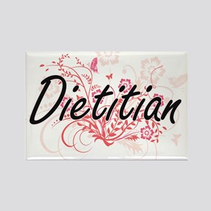 Dietitian Artistic Job Design with Flowers Magnets