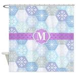 Monogram Holiday Snowflakes Shower Curtain