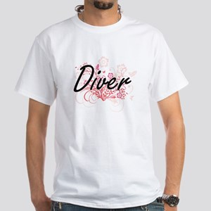 Diver Artistic Job Design with Flowers T-Shirt