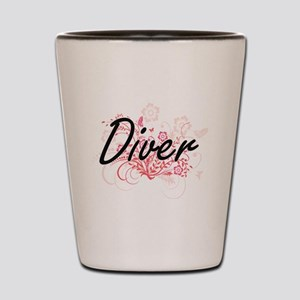 Diver Artistic Job Design with Flowers Shot Glass