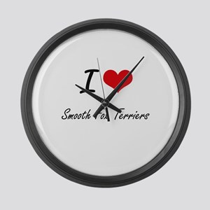 I love Smooth Fox Terriers Large Wall Clock