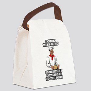 I Cook With Wine, Sometimes I Eve Canvas Lunch Bag