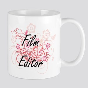 Film Editor Artistic Job Design with Flowers Mugs