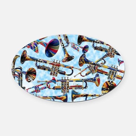 Cool Trumpet Oval Car Magnet