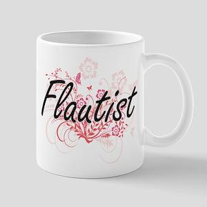 Flautist Artistic Job Design with Flowers Mugs