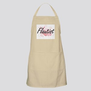 Flautist Artistic Job Design with Flowers Apron