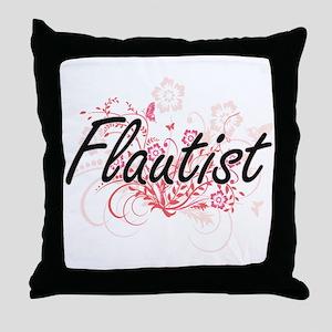 Flautist Artistic Job Design with Flo Throw Pillow