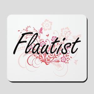 Flautist Artistic Job Design with Flower Mousepad