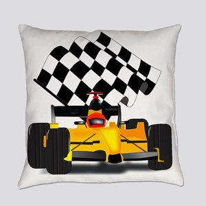 Yellow Race Car with Checkered Fla Everyday Pillow