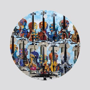 Violins Colorful Design Painted Vio Round Ornament