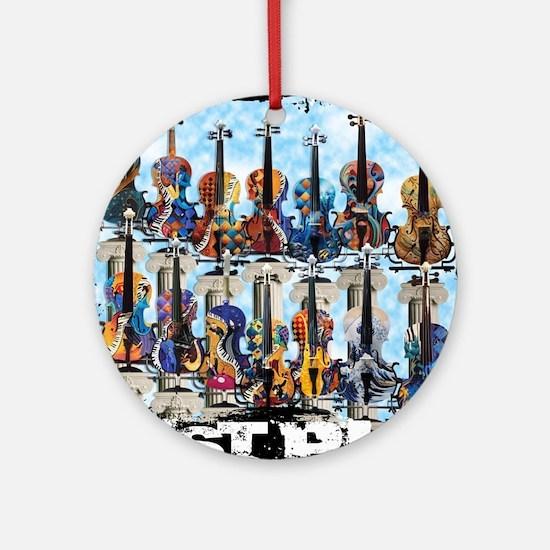 Violins Colorful Design Painted Vio Round Ornament