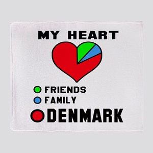 My Heart Friends, Family and Denmark Throw Blanket