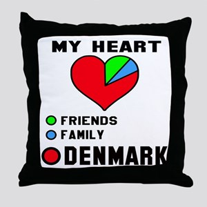 My Heart Friends, Family and Denmark Throw Pillow