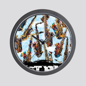 Saxophone Design Colorful Painted Saxop Wall Clock