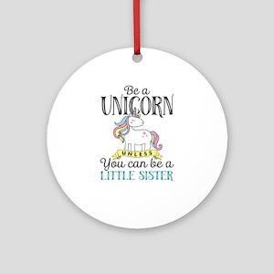 Unicorn LITTLE SISTER Round Ornament