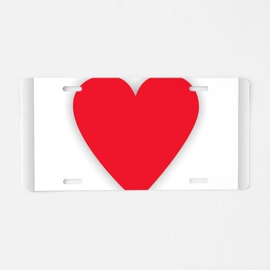 Red Heart Design Aluminum License Plate