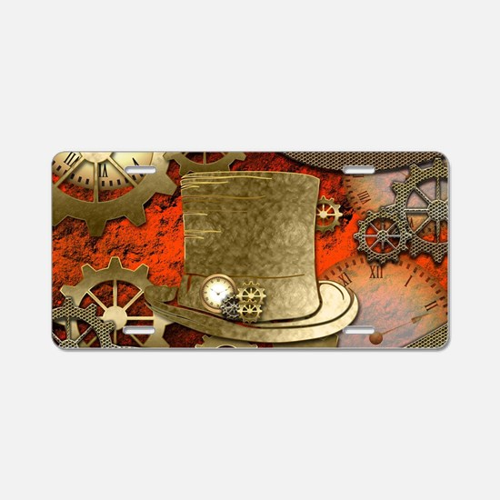 Steampunk witch hat Aluminum License Plate