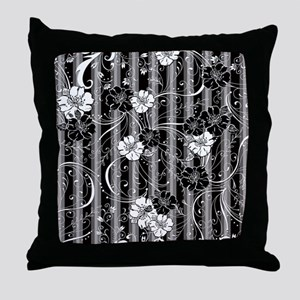 Striped Flower Black and White Design Throw Pillow