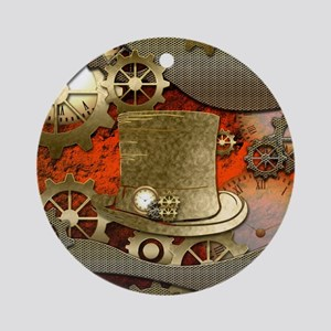 Steampunk witch hat Round Ornament