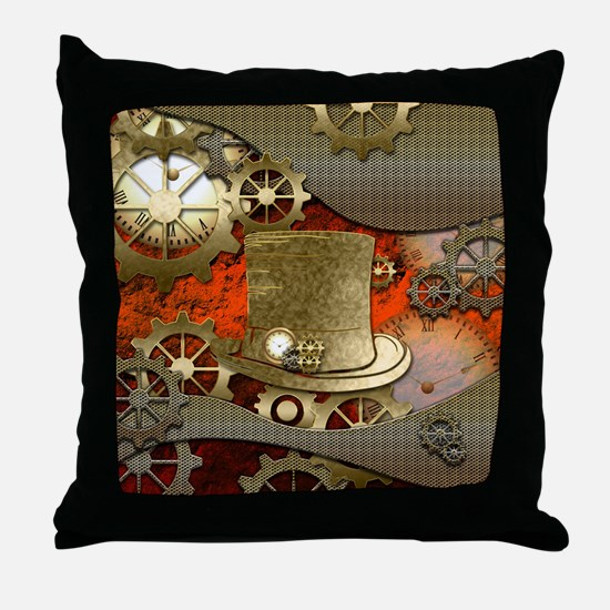 Steampunk witch hat Throw Pillow