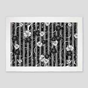 Striped Flower Black and White Desi 5'x7'Area Rug