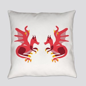 Twin Dragons Everyday Pillow