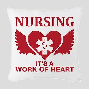 Nursing It's A Work Of Heart Woven Throw Pillow